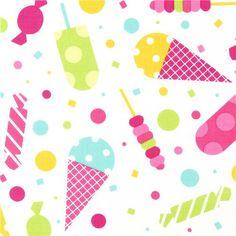 white fabric ice cream cone & sweets de Robert Kaufman 1