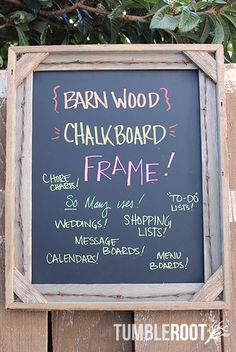 Rustic 16x20 handmade barbed wire barnwood chalkboard frame - perfect for shopping lists, weddings, to-do lists, message boards and more!