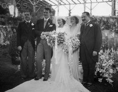 John Wayne married his wife, Josephine, on June 23, 1933 (78 years ago today!) at the home of Loretta Young (standing behind the bride)