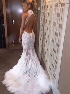 Yuxin Sexy High Neck Appliques White Feather Prom Dress 2017 Long Backless Mermaid Evening Dresses Party Gown -- Check this awesome product by going to the link at the image. (This is an affiliate link) Feather Prom Dress, Wedding Dress With Feathers, Feather Wedding Dresses, Prom Dresses 2016, Wedding Dresses 2018, Party Dresses, Pageant Dresses, Quince Dresses, Quinceanera Dresses