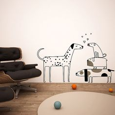 Love dogs wall decas wall stickers - big and small dogs wall decals on Etsy, $745.26
