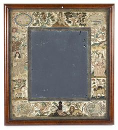 Charles II needlework mirror, English the rectangular plate set within an ivory satin ground worked with stumpwork embroidery and embellished with seed pearls, the panels depicting the four Continents, worked to each corner is an oval medallion with Tent Stitch, The Saleroom, Walnut Veneer, Casket, Plate Sets, View Image, Continents, Home Crafts, Needlework