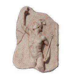 Relieve de Hermes-Mercurio, mensajero de los Dioses, símbolo de la astucia y el comercio. Reproducción arqueológica de relieve romano. Artesanía para regalo.