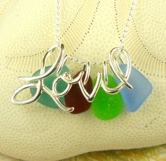 Love Necklace GENUINE Ocean Tumbled Sea Glass by seaglassgems4you