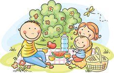 Illustration of Cartoon family having picnic outdoors vector art, clipart and stock vectors. Drawing For Kids, Painting For Kids, Art For Kids, Crafts For Kids, Cartoon Familie, Picture Composition, Family Illustration, Family Picnic, Happy Kids