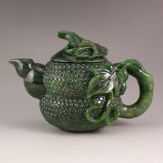 Superb Chinese Natural Green Hetian Jade Teapot