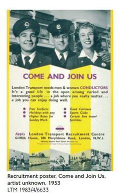 Poster from Transport London's recruitment drive in Barbados which began in 1956.