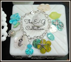 Charm bracelet Seashell jewelry Mermaid by TheEandGCollection