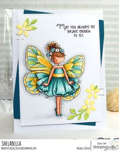 Spotlight On: Tiny Townie Butterfly Girls at Stamping Bella Part 1 Blanche & Bess Handmade Card Making, Love Stamps, Butterfly Cards, Cute Cards, Diy Cards, Copics, Watercolor Cards, Cardmaking, Scrapbooking