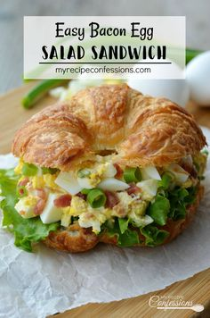 Easy Bacon Egg Salad Sandwich is very creamy and flavorful! The bacon gives the sandwich a smoky flavor. It's quick and easy to make and is always a huge hit! This recipe is a great way to use all the colored eggs at Easter. Easy Bacon Recipes, Egg Recipes, Easy Healthy Recipes, Quick Easy Meals, Healthy Lunches, Croissant Sandwich, Bacon Sandwich, Cold Sandwiches, Egg Salad Sandwiches