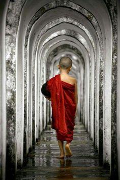 ~Franz von Assisi~ Silent walking by Naing Naing Tun Buddha Buddhism, Buddha Art, Buddhist Monk, Buddhism Religion, Little Buddha, Buddha Painting, Never Grow Old, The Monks, People Of The World