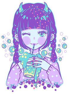 Pastel,Cute,Purple,Bubble,Blue,White,Blush,Kawaii,Horns