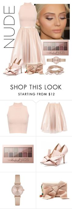 """""""Nude Look!"""" by namogold ❤ liked on Polyvore featuring WearAll, Maybelline, Emporio Armani, Oscar de la Renta and Marjana von Berlepsch"""