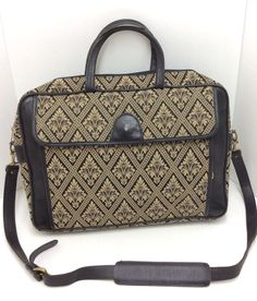 Elliva Boston Briefcase Laptop Bag Tapestry Black Leather Fleur de Lis #ellivaboston
