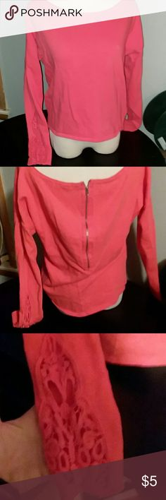 size med coral zipper sweater aeropostale size med coral colored sweater with lace type accents shown in pic on both arms zipper up back super cute in euc Aeropostale Sweaters