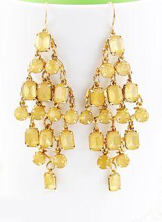 Yellow Gemstone Gold Diamond Dangle Earrings US$6.85
