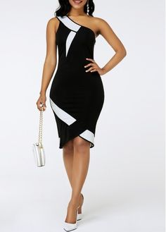 One Shoulder Dresses Asymmetric Hem One Shoulder Sheath Dress Latest African Fashion Dresses, Women's Fashion Dresses, Dress Outfits, Classy Dress, Classy Outfits, Club Party Dresses, Spandex Dress, Casual Summer Dresses, Elegant Dresses