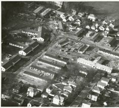 East Green Veteran's Housing construction, aerial view, 1946 :: Ohio University Archives