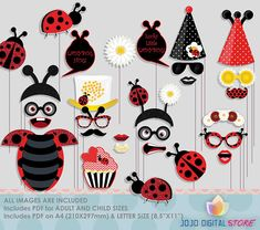 Glitter Ladybug Party Photo Booth Props for Fancy Ladybug