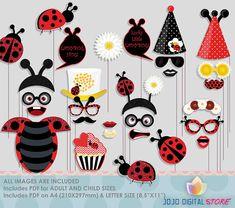 Glitter Ladybug Party Photo Booth Props for Fancy Ladybug