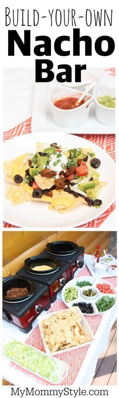 Build your own nacho bar is a fun party idea. Set out all the ingredients and let everyone choose what they want on their nachos. Prep is fast and easy and the food is a crowd pleaser.
