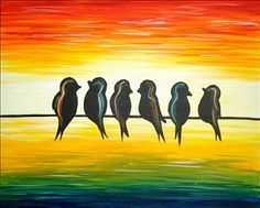 bird on a wire cityscape painting - Google Search
