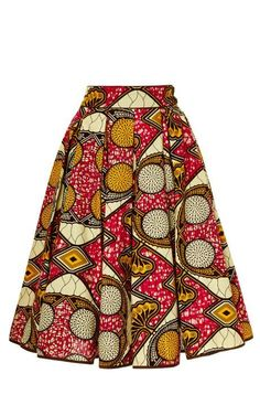 Market Skirt ♥Lena Hoschek printed wax cotton skirt features a softly pleated a-line silhouette with in-seam side pockets.♥Lena Hoschek printed wax cotton skirt features a softly pleated a-line silhouette with in-seam side pockets. African Print Skirt, African Print Dresses, African Fashion Dresses, African Fabric, African Dress, African Prints, Nigerian Fashion, Ghanaian Fashion, African Clothes