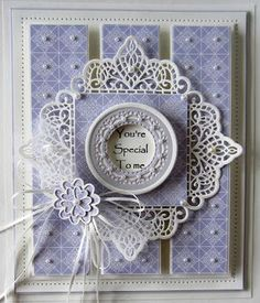 Hello crafters! A pretty blush and milk card for the giveaway this week. I started by selecting a piece of milk card and cutting the two largest decorative dies in the Alexandra die set. I used the
