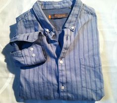 BEN SHERMAN Blue STRIPED  BUTTON UP SHIRT OXFORD XL Mod Nice Style. #BenSherman #ButtonFront