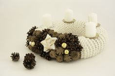 Handmade white Advent wreath.  I made this Advent wreath with pinecones,Christmas balls, wax stars and white knitted detail . Wreath will be wonderful