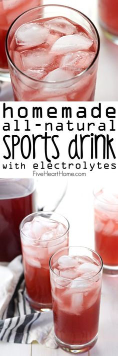 Homemade, All-Natural Sports Drink {Gatorade Copycat Recipe} ~ quench your thirst, hydrate your body, and replenish electrolytes with this easy-to-make sports drink that's free of processed ingredients, artificial sweeteners, and food dyes! | FiveHea
