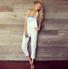 Gigi Hadid in white overalls