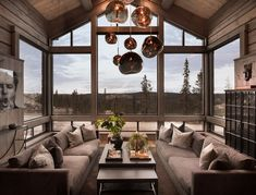 sutlu Kvitfjell - Spectacular log cabin with a very high standard, fantastic views and good sun cond Living Area, Living Spaces, Living Room, Modern Lodge, Colorado Homes, Lodge Style, Cabin Interiors, My Dream Home, Future House