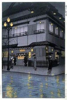 A woodblock print by Kasamatsu Shiro, Shinbashi in Rain, at Scholten Japanese Art. Japanese Prints, Japanese Design, Art Occidental, Bg Design, Japanese Woodcut, Art Asiatique, Japanese Illustration, Art Japonais, Japanese Painting