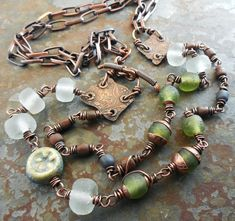 Ancient Copper Shards Metalwork Necklace Recycled by lunedesigns, $115.00