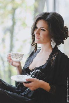 """Купить """"Романтичное утро"""" - Длинный шифоновый пеньюар - богиня, Сексуальный, пеньюар, для женщины, для невесты"""