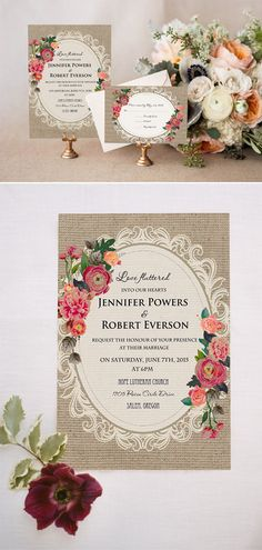 shabby chic floral printed lace and burlap rustic wedding invitations