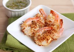 --Baked coconut shrimp with pineapple dipping sauce.