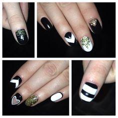 #nails #nail #unghie #ungles #ongles #gel #gelish #cnd #shellac #art #creampuff #blackpool #glitter #design #blackandwhite #white #black #donosti #donostia #fashion #style #heart