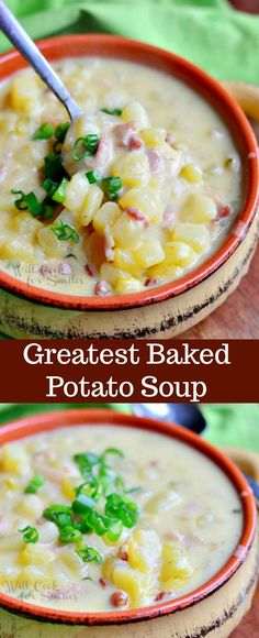The BEST Loaded Baked Potato Soup! It's made with crispy bacon, golden potatoes, green onion and some added cream. This soup is full of flavor and makes the best comfort food. #potatosoup #soup #loadedpotato #loadedbakedpotatosoup
