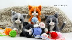 Fart felt and not only: Basket Luck; Needle Felted Cat, Needle Felted Animals, Felt Animals, Felt Penguin, Felt Cat, Baby Animals Pictures, Cute Baby Animals, Needle Felting Tutorials, Baby Fairy