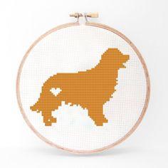 Golden Retriever Silhouette Cross Stitch PDF Pattern by kattuna