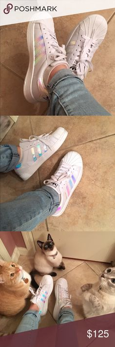 Adidas Superstar Holographic Shoes Tag shows 7.5, But this would fit more on a women's shoe size 8.5.  I bought them from someone else, they are new, unused, and absolutely perfect condition. super cute, I love these shoes but I need a smaller size :(. Also listed on Mercari Adidas Shoes Sneakers