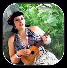 Woman playing ukulele. Colorized by Steve Smith