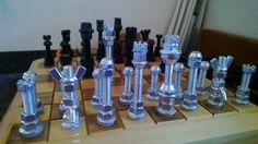 Cool Chess Set pieces that Lee Summers made from nuts & bolts