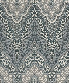 Glitter Damask (404708) - Albany Wallpapers - An Indian inspired large scale all over damask design drawn in white and shades of grey, with silver and turquoise glitter - an incredible effect. Please request sample for true colour match.