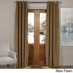 Exclusive Fabrics Signature Solid-colored Grommet Blackout Velvet Curtain (New Fawn- 96L), Brown, Size 50 x 96