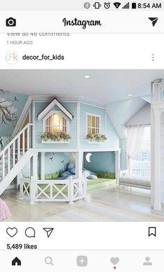 little girls bedroom or play room. - - room, Cute little girls bedroom or play room. - - room, Cute little girls bedroom or play room. Cute Bedroom Ideas, Girl Bedroom Designs, Awesome Bedrooms, Cool Rooms, Bed Ideas, Small Rooms, Loft Ideas, Girs Bedroom Ideas, Kids Bedroom Ideas For Girls