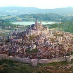 Fantasy World Map, Fantasy Town, Fantasy Castle, Fantasy Places, Medieval Fantasy, Fantasy Art Landscapes, Fantasy Landscape, Fantasy Concept Art, Fantasy Setting