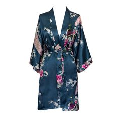 """- 100% Polyester, 19mm - Continuous print throughout sleeves. French seam finish. - Side pockets, sash tie closure, belt loops and inside ties - One Size Fits Most. Fits up to 43"""" at chest & hip. 37"""""""